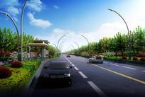 公交站旁道路绿化效果图 PSD