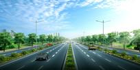 简单道路景观效果图 PSD