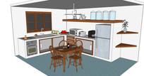 简单中式厨房餐厅模型