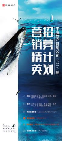 蓝色房地产招聘活动鲸鱼展架