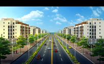 两板三带式道路景观效果图 PSD