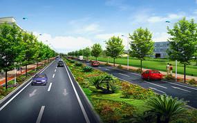 某道路绿化景观效果图