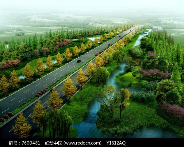 某公路绿化鸟瞰效果图图片
