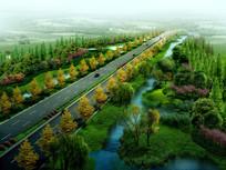 某公路绿化鸟瞰效果图 PSD