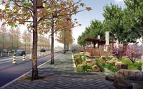 某景区旁道路景观效果图 PSD