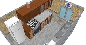 木质橱柜厨房室内模型