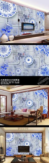 青花牡丹立体透明方框大理石3D时尚中式背景墙