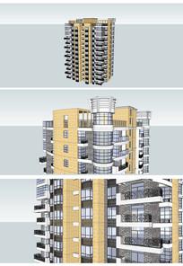 现代风格一梯四户高层住宅SU模型 skp