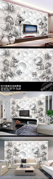 线条简约素描花朵立体圆软包3D时尚背景墙