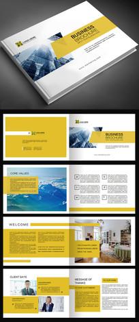 2017年黄色简约企业画册宣传册PSD模板