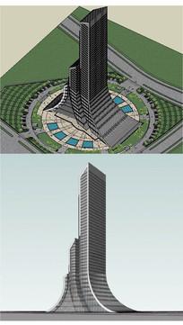 办公楼高层建筑草图大师SU模型