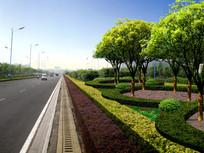 城市道路景观效果图 PSD