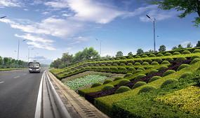 城市公路护坡绿化效果图 PSD