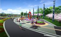 道路人行道景观效果图 PSD