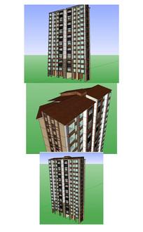 东南亚风格高层住宅楼建筑草图大师SU模型
