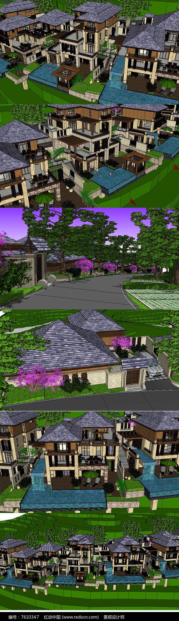 东南亚风格坡地度假别墅建筑草图大师SU模型图片