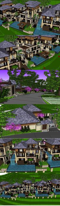东南亚风格坡地度假别墅建筑草图大师SU模型
