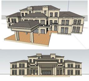 法式精品会所建筑SU模型