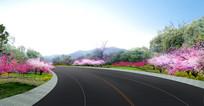 公路绿化效果图 PSD