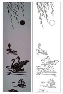荷塘荷花鸭雕刻图案 CDR