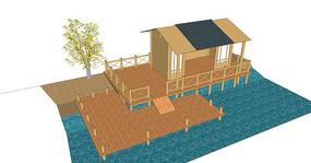 户外观景茅草屋模型