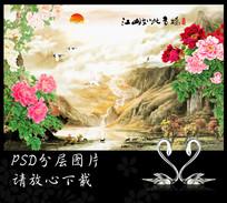 江山多娇国画牡丹山水画背景墙