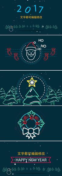 简洁圣诞节新年节日贺卡模板