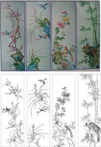 梅兰菊竹竹子雕刻图案 CDR