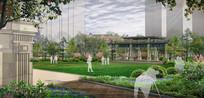 欧式住宅绿化景观效果图