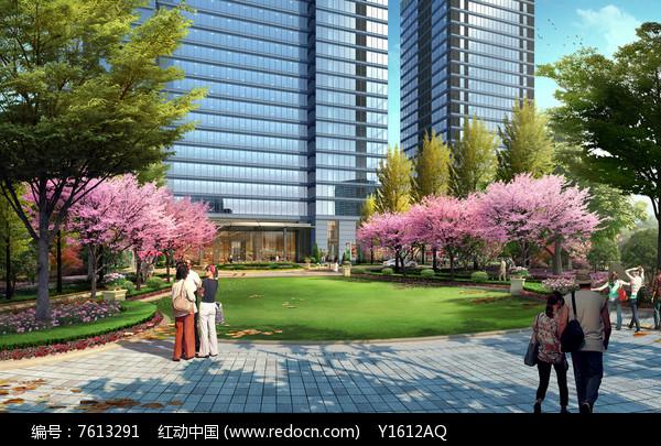 商业办公楼前绿化效果图图片