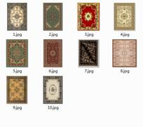 室内复古典雅图案地毯psd贴图