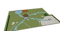 水景亭子模型