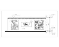 中式古典围墙CAD立面图