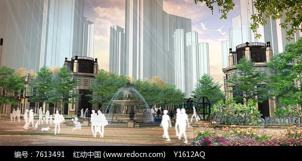 住宅入口水景喷泉效果图图片