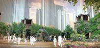 住宅入口水景喷泉效果图 PSD
