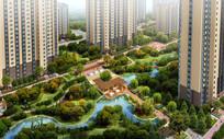 住宅生态绿化半鸟瞰图