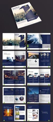 2017蓝色整套画册企业宣传册PSD模板