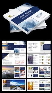 2017年蓝色方形科技企业画册宣传册PSD模板