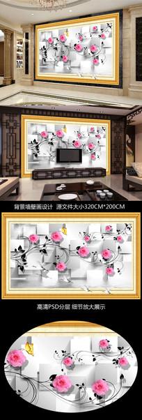 3D立体框画式电视背景墙