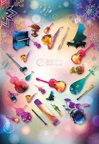 彩色梦幻乐器手绘卖场海报