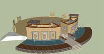 罗马式广场景墙模型