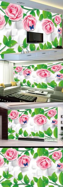 玫瑰花高清3D立体花开富贵电视背景墙