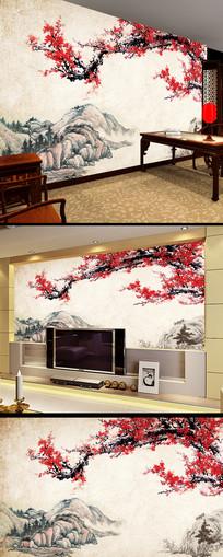 梅花水墨高清中式电视背景墙