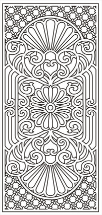 欧式四角花雕刻图案