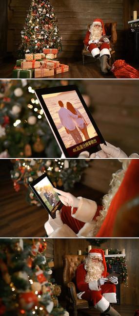 圣诞老人ipad浏览家庭相册照片模板