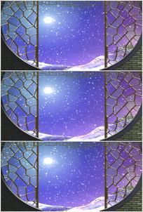雪景明月亮下雪屏风花格落雪视频