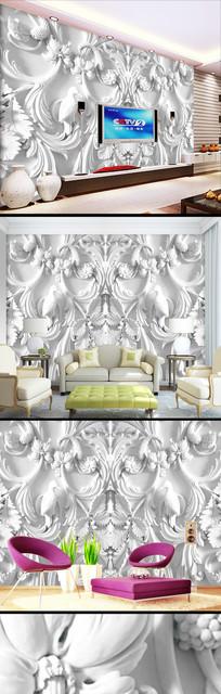 3D立体浮雕石膏白色花卉壁纸背景墙