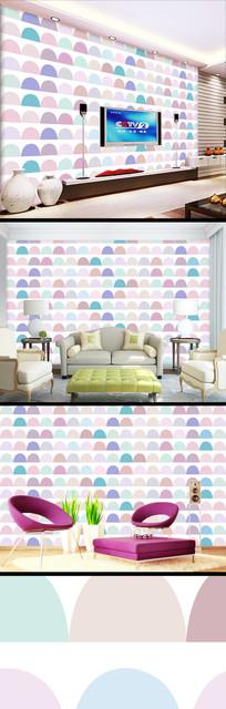 彩色圆点时尚儿童壁纸背景墙