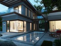 海南现代别墅庭院景观 JPG