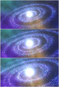 蓝色宇宙银河系星系旋转立体视频